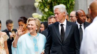 EXCLUSIVE: Hillary Clinton and Bill Clinton arrive at top advisor and financial donor Marc Lasry's daughter Sophie Lasry wedding to football player Alex Swieca in New York.� The star-studded wedding guest list includes Jennifer Lopez and Alex Rodriguez, Tiffany Trump, Jason Kidd,�Michael Strahan, Huma Abedin, and many more.�<P>Pictured: Hillary Clinton and Bill Clinton<B>Ref: SPL1551726  060817   EXCLUSIVE</B><BR/>Picture by: XactpiX/Splash News<BR/></P><P><B>Splash News and Pictures</B><BR/>Los Angeles:310-821-2666<BR/>New York:212-619-2666<BR/>London:870-934-2666<BR/>photodesk@splashnews.com<BR/></P>