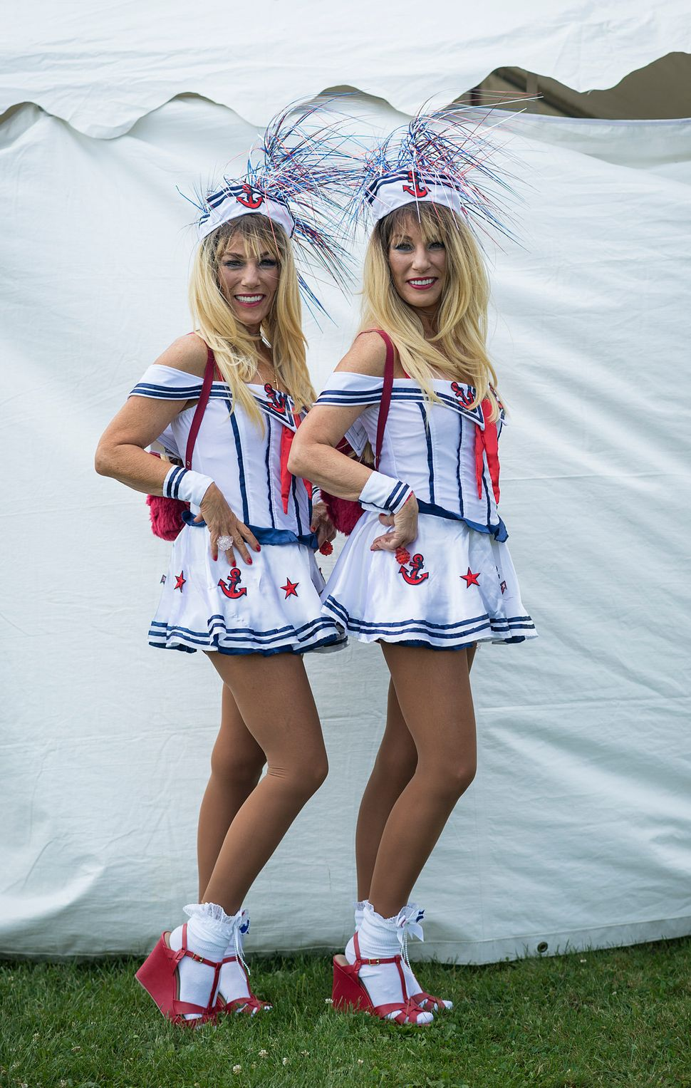 Linda (left) and Laura Mellor go red, white and blue.