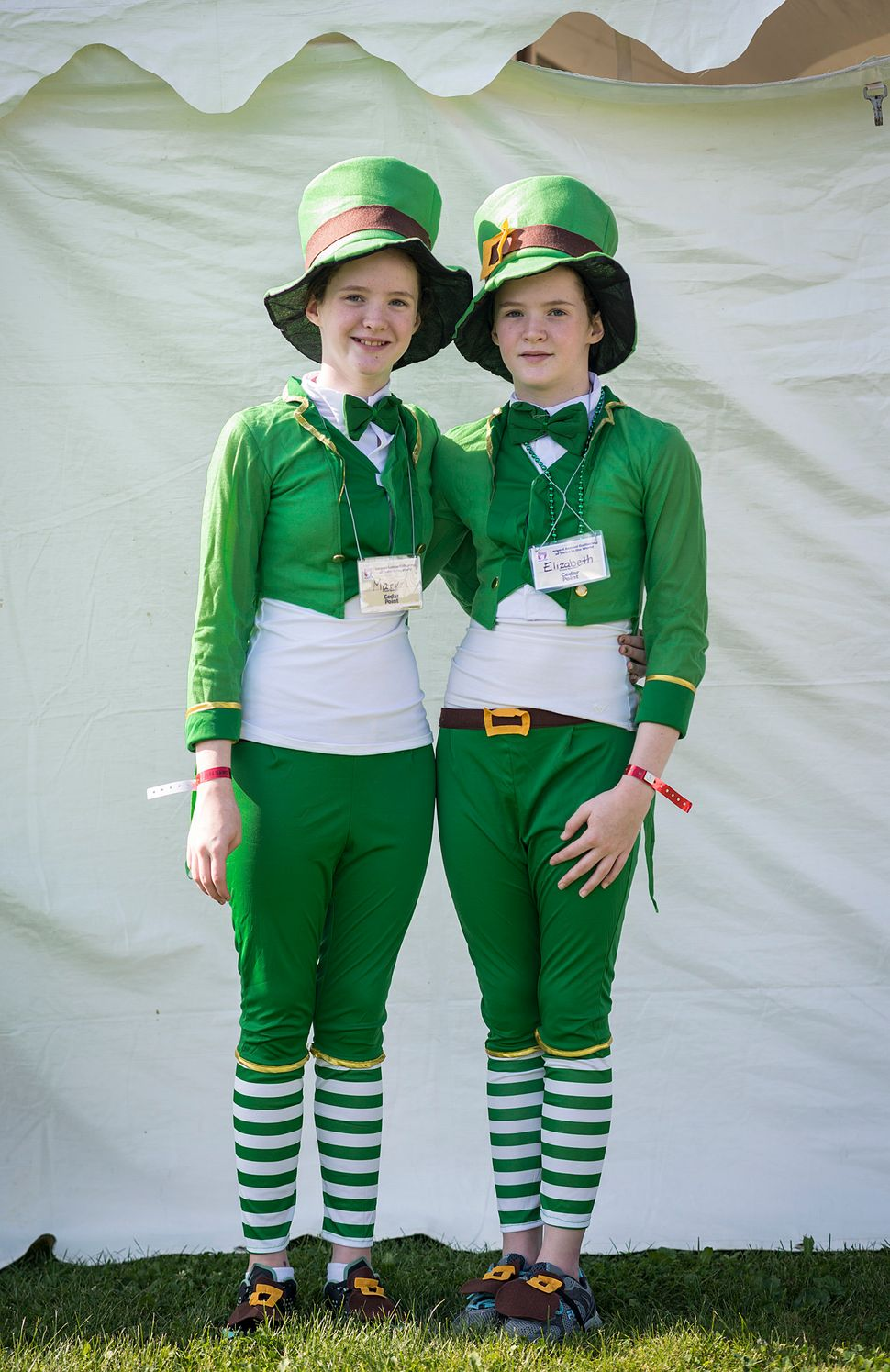 Mary (left) and Elizabeth Gillen have fun with their Irish history.