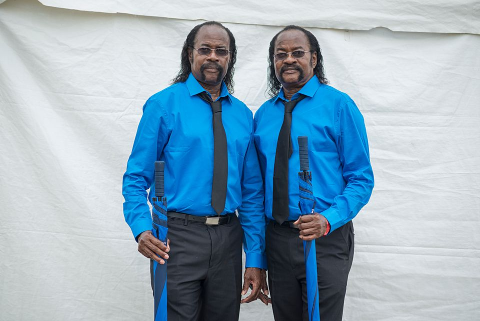 Ned (left) and Fred Mitchell, 67, always dress super sharp for Twins Days.