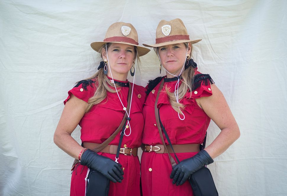 Marci (left) and Tami Kampelman dress as members of the Royal Canadian Mounted Police. (Yes, they're from Canada.)
