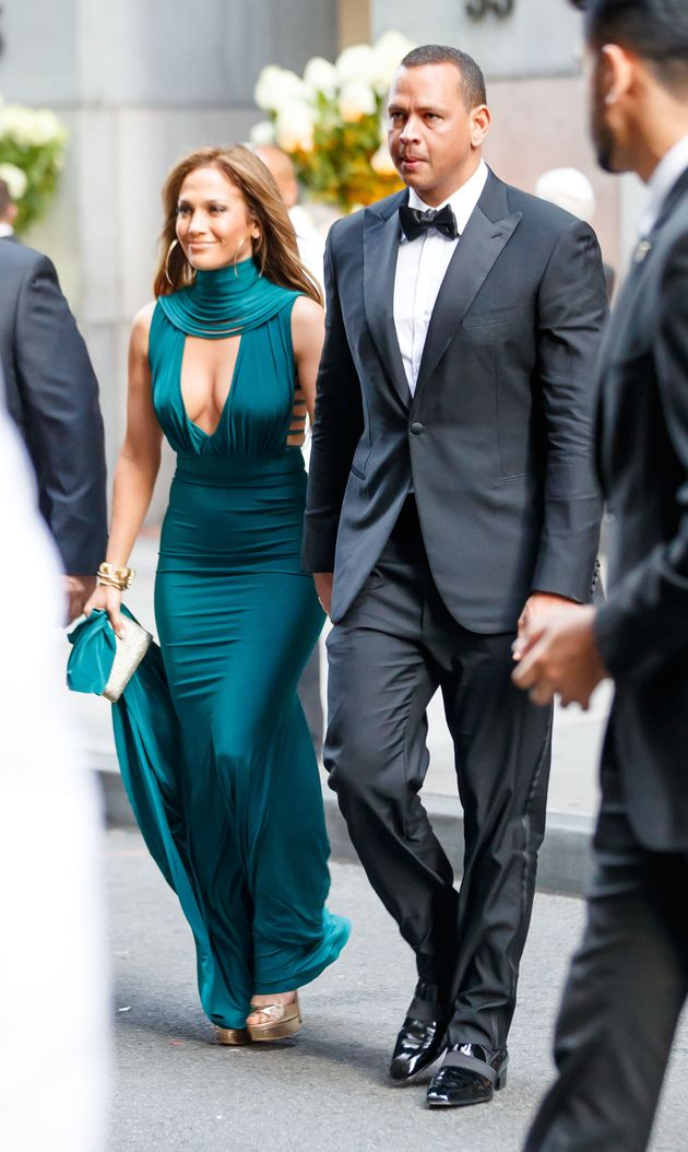 Jennifer Lopez and Alex Rodriquez at the wedding of Sophia Lasry and Alex Swieca in New York,