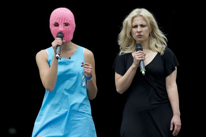 Maria Alyokhina, right, was reportedly detained in Russia on Monday.