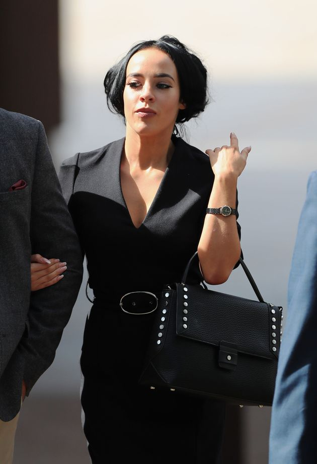 Stephanie is pictured leaving court on Monday (7