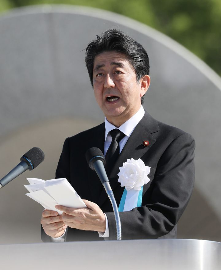 Japanese Prime Minister Shinzo Abe delivers a speech on Aug. 6, 2017, commemorating the victims of the atomic bombing of Hiro