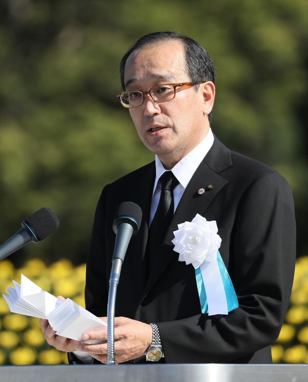 Hiroshima Mayor Kazumi Matsui delivers a speech at Hiroshima's Peace Memorial Park on Aug. 6,