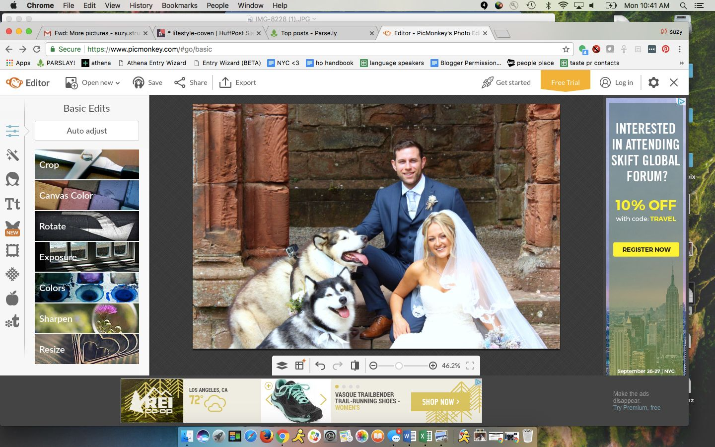 Emma-Leigh and Shane Matthews included their canine maid of honor and best man in
