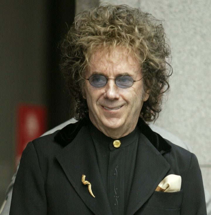 Record producer Phil Spector during a 2004 news conference outside Superior Court in Los Angeles.