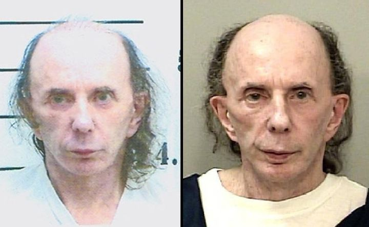 Phil Spector in 2009, left, and 2013.