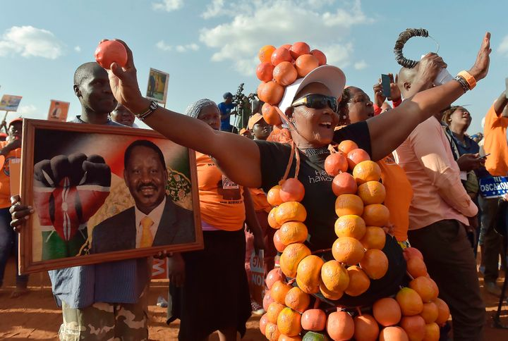 Supporters of the National Super Alliance, or NASA, party listen to Odinga during a campaign rally. Nairobi, July 18.