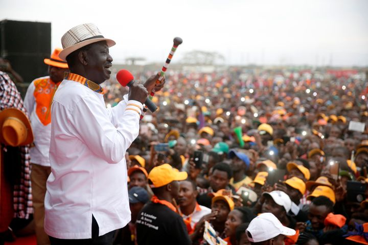 Kenyan opposition leader Raila Odinga at an election rally in Suswa, Kenya. Aug. 2.