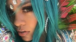 Rihanna Rocks Feathers And Sparkles With Crop Over Festival