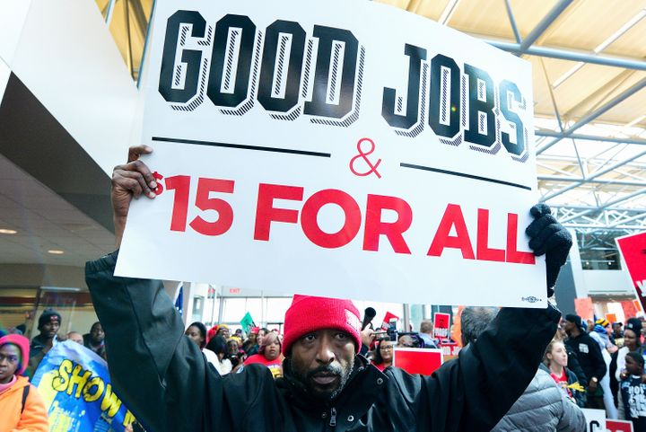 Fight for $15 supporters rally at the headquarters of Hardee's fast-food restaurants in St. Louis on Feb. 13. St. Louis