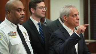 CHICAGO, IL - AUGUST 06:  Chicago Mayor Rahm Emanuel (R), Chicago Corporation Counsel Ed Siske (C) and Chicago Police Department (CPD) Superintendent Eddie Johnson announce during a press conference that on Monday the City of Chicago will file a federal lawsuit to try to prevent President Donald Trump and the U.S. Justice Department from making a federal crime prevention grant conditional on immigration enforcement policies on August 6, 2017 in Chicago, Illinois.  The mayor specifically cited applications for the Justice Department's Byrne Memorial Justice Assistance Grant which provides federal funding to support local law enforcement efforts. Conditions of the grant will require local sharing of immigration status information, unlimited access to local police stations and law enforcement facilities by U.S. Department of Homeland Security personnel to interrogate arrestees, and the requirement that cities provide DHS with at least a 48-hour notice prior to an arrestee's release from jail.  (Photo by Scott Olson/Getty Images)