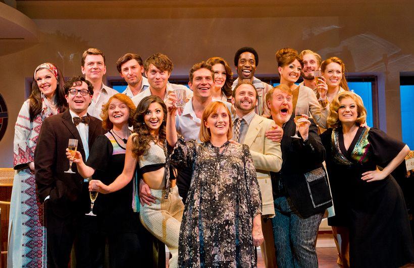 The London cast of <em>Merrily We Roll Along.</em>