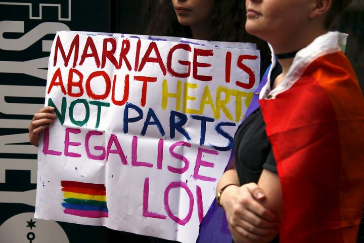 """Gay rights activists in Sydney in 2015 campaign for same-sex marriage in Australia, an issue that has consistently had the support of most Australians <a href=""""http://www.smh.com.au/federal-politics/political-news/rebel-liberal-mps-have-voters-on-their-side-as-coalition-party-room-meets-20170806-gxqcpw.html"""" target=""""_blank"""" role=""""link"""" data-ylk=""""subsec:paragraph;itc:0;cpos:__RAPID_INDEX__;pos:__RAPID_SUBINDEX__;elm:context_link"""">for the past 10 years</a>."""