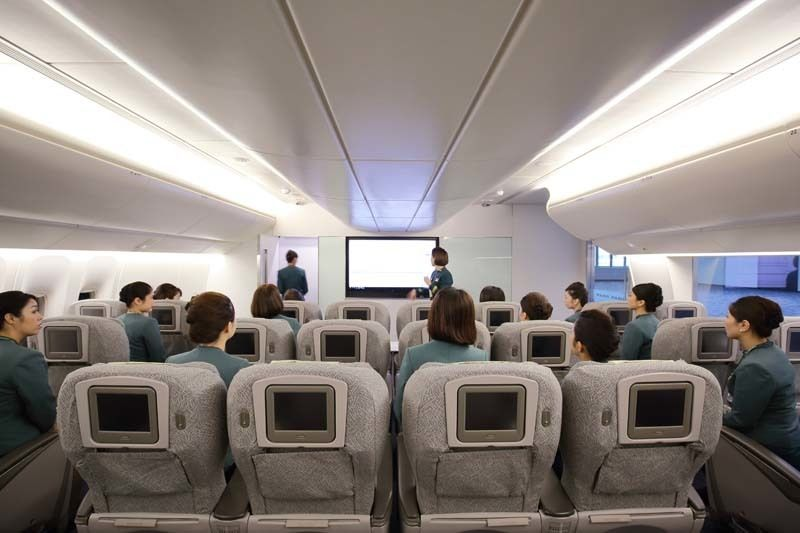 Flight attendant programs typically combine classroom instruction, simulators, and on-the-job training before they are certif