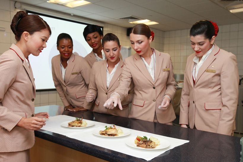 Emirates flight kitchens are where crew get to practice plating skills. They borrowed a lot from the hospitality industry to