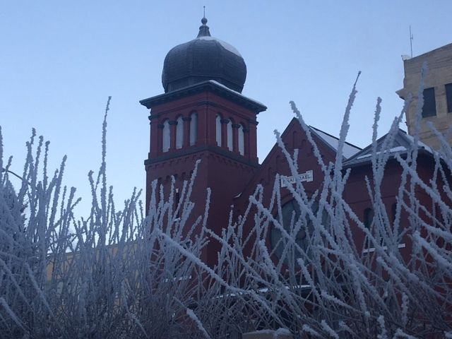 Elegant and Serene: An Old Synagogue Frozen in Time on a Icy Butte Morning
