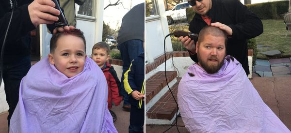 The Men In This Family Shaved Their Heads To Support A Loved One With Breast Cancer