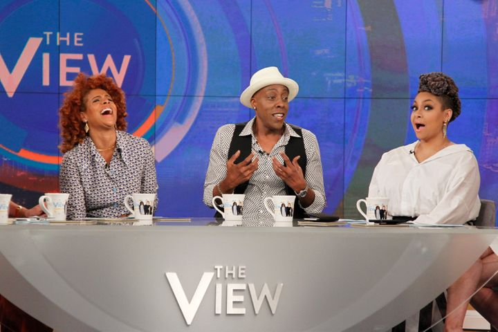 "Raven-Symoné with guests Arsenio Hall and Kelis on ""The View."""