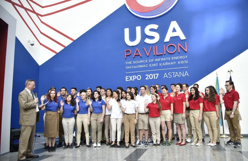 US Ambassador to Kazakhstan George Krol administering oath of office to 40 American Student Ambassadors to World EXPO 2017 at