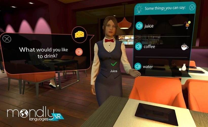 The Mondly VR app helps you practice languages in a number of useful scenarios.