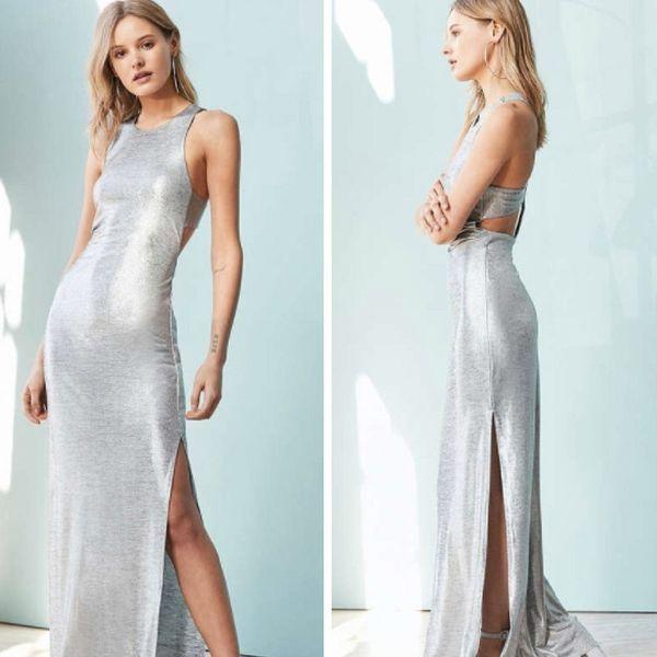"Buy the <a href=""https://www.urbanoutfitters.com/shop/silence-noise-stingray-metallic-maxi-dress?adpos=1o27&cm_mmc=SEM-_-"