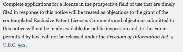 Part of the notice filed with the Federal Register says that comments and objections to the license will not be made ava