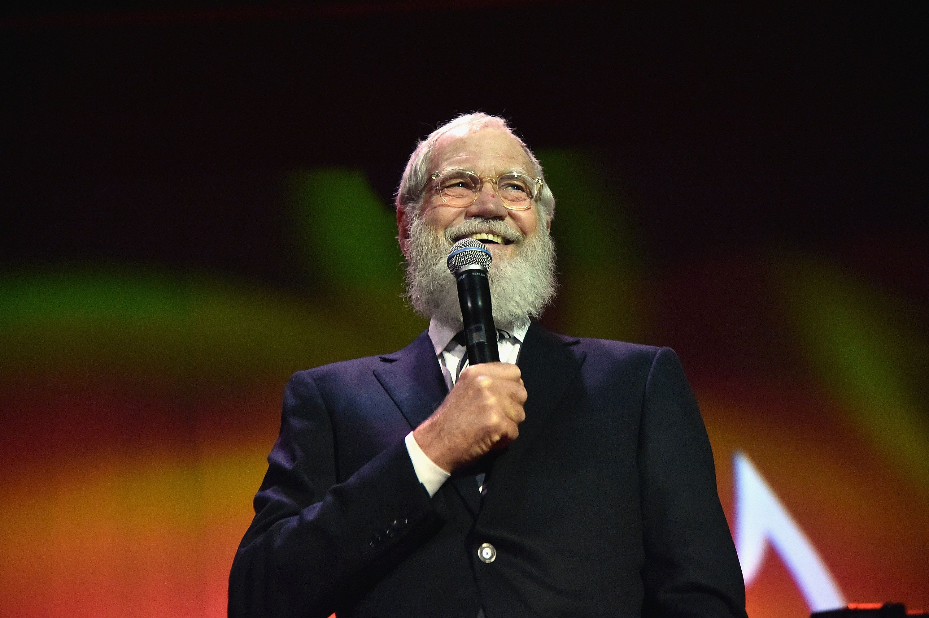 """NEW YORK, NY - NOVEMBER 14:  David Letterman speaks onstage during the Michael J. Fox Foundation """"A Funny Thing Happened On The Way To Cure Parkinson's"""" Gala at The Waldorf=Astoria on November 14, 2015 in New York City.  (Photo by Mike Coppola/MJF2015/Getty Images)"""