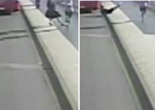 A woman is seen getting knocked over in front of an oncoming bus by a passing jogger.