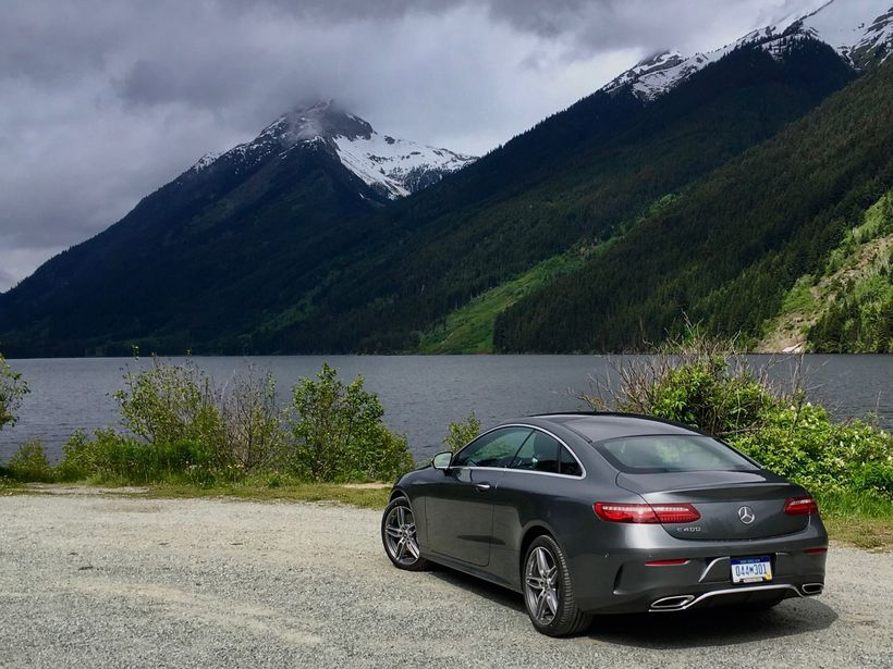 2018 Mercedes-Benz E400 Coupe taking the scenic route in British Columbia.