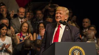MIAMI, USA - JUNE 16: U.S. President Donald Trump speaks about policy changes he is making toward Cuba at the Manuel Artime Theater in the Little Havana neighborhood on June 16, 2017 in Miami, Florida. (Photo by Raul E. Diego/Anadolu Agency/Getty Images)