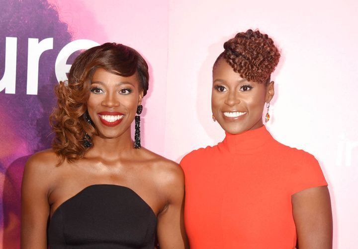HBO's <em>Insecure </em>stars Issa Rae and Yvonne Orji on the red carpet.