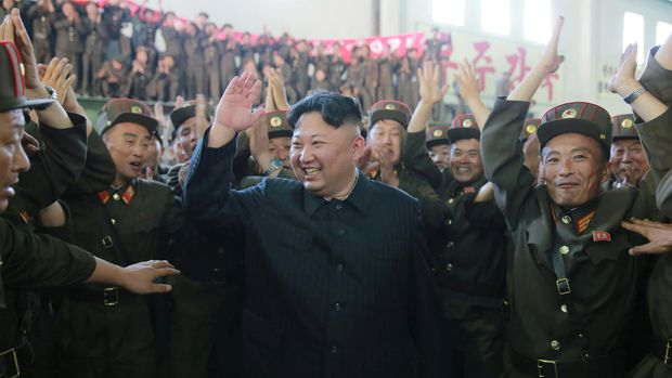North Korean leader Kim Jong Un reacts with scientists and technicians of the DPRK Academy of Defence Science after the test-launch of the intercontinental ballistic missile Hwasong-14 in this undated photo released by North Korea's Korean Central News Agency (KCNA) in Pyongyang July 5, 2017. KCNA/via REUTERS ATTENTION EDITORS - THIS IMAGE WAS PROVIDED BY A THIRD PARTY. REUTERS IS UNABLE TO INDEPENDENTLY VERIFY THIS IMAGE. NO THIRD PARTY SALES. SOUTH KOREA OUT.