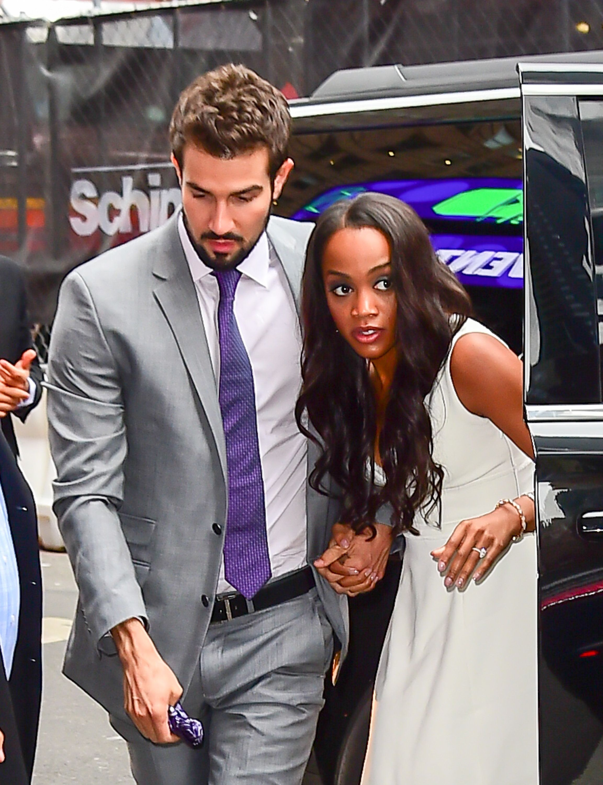 NEW YORK, NY - AUGUST 08:  - Bachelorette's Rachel Lindsay and her fiance, Bryan Abasolo are seen arrived at 'Good Morning America' on August 8, 2017 in New York City.  (Photo by Raymond Hall/GC Images)
