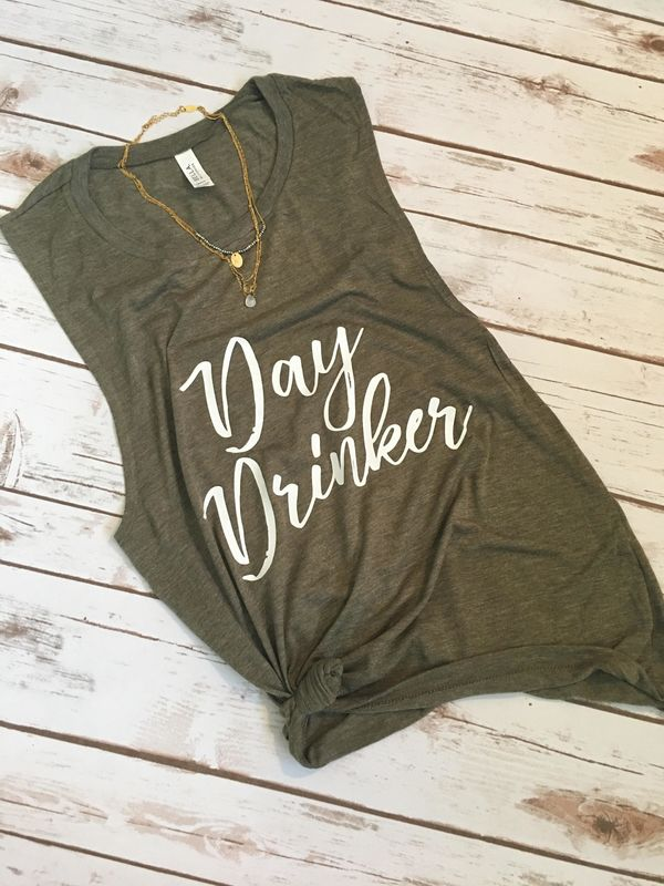 "The perfect brunch outfit. <a href=""https://www.etsy.com/listing/517160158/day-drinker-womens-tank-day-drinker-tank?ga_order="