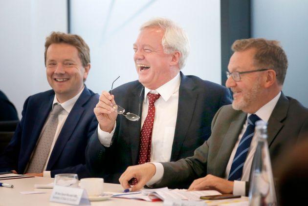 L-R: James Chapman, David Davis and Scottish Secretary David Mundell in Glasgow in October. Chapman,...