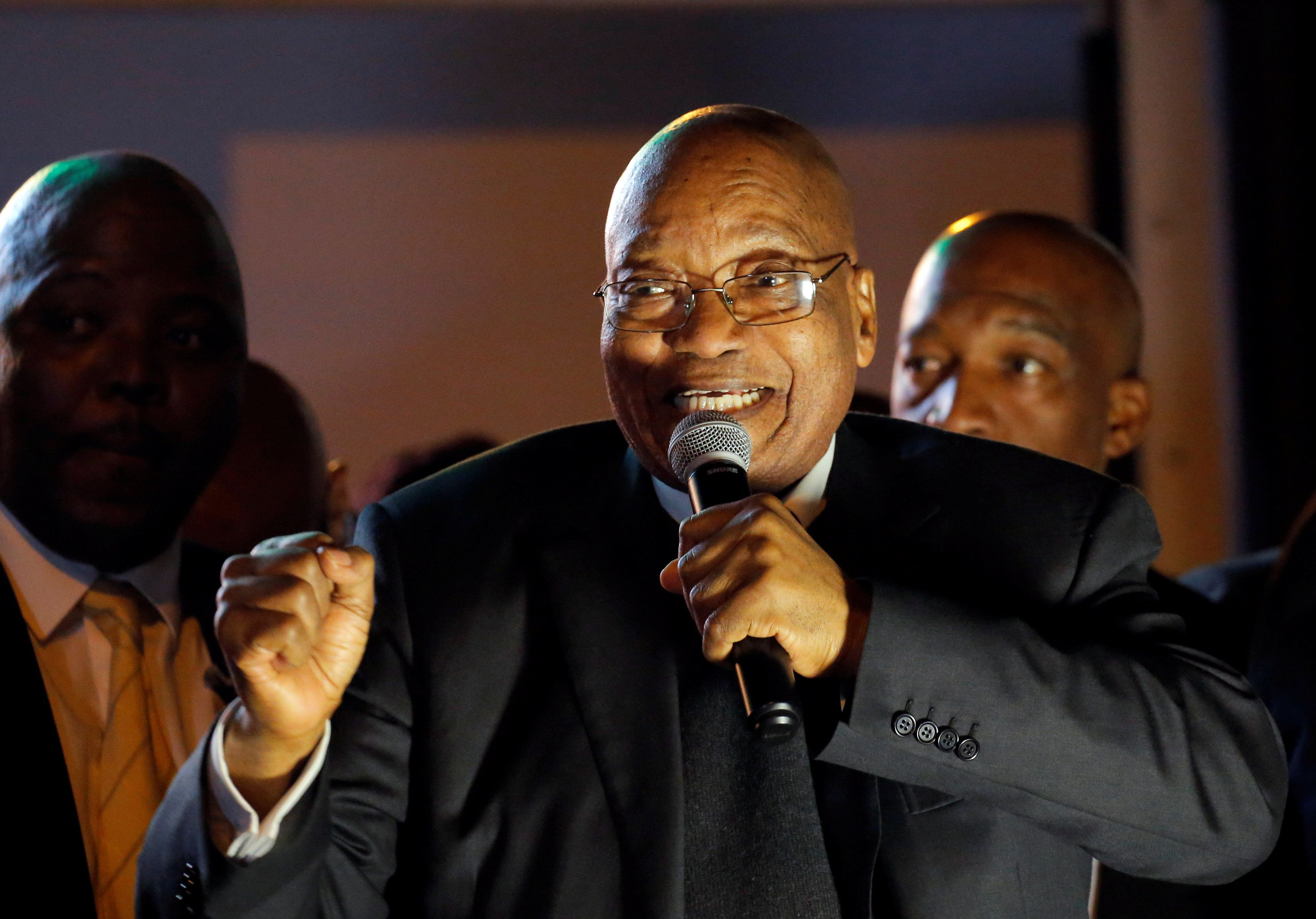 South African President Jacob Zuma addresses his supporters after surviving a no-confidence motion in Cape Town, South Africa