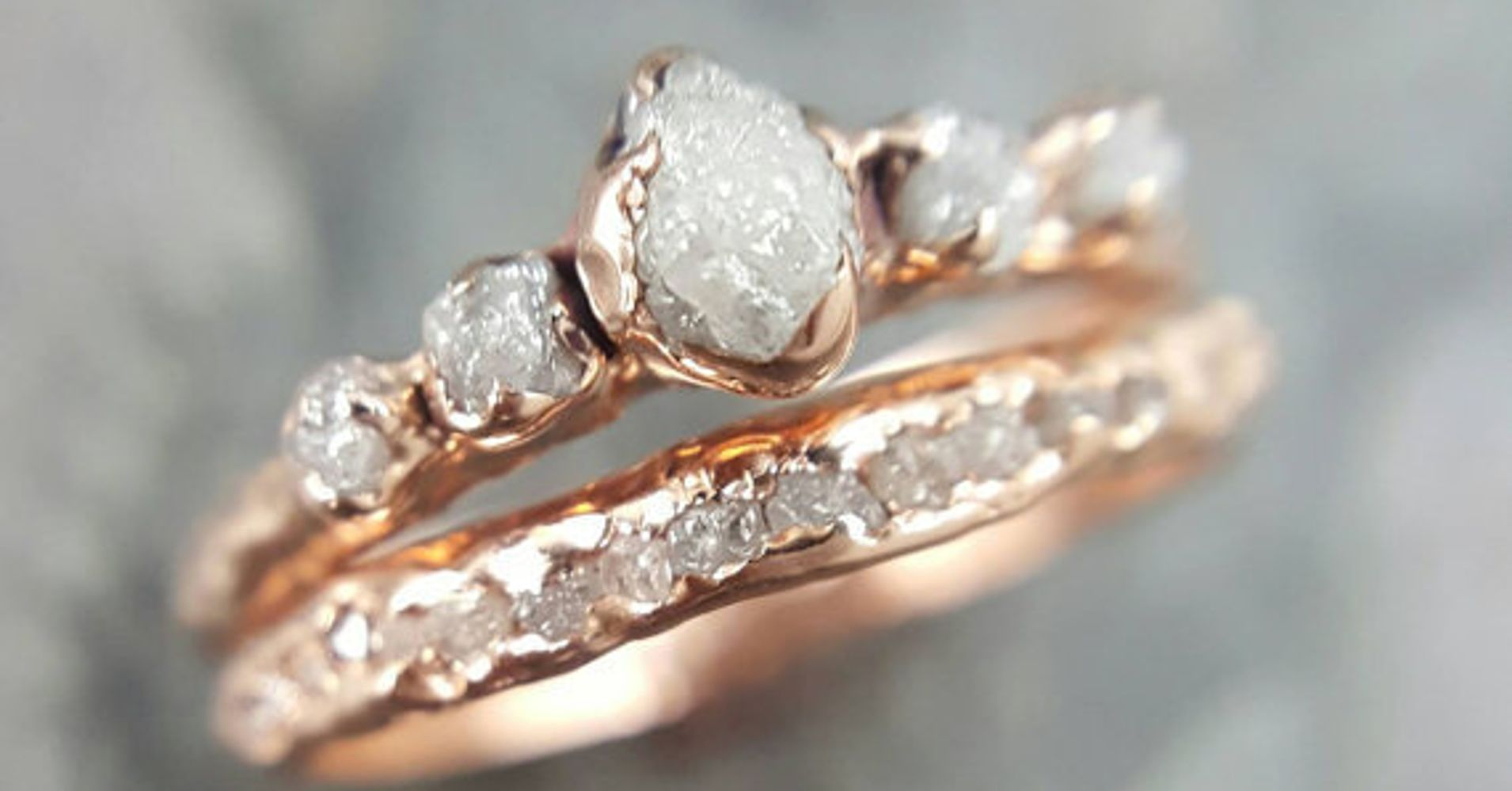 wedding uncut leaf raw rings canada jewellery media engagement in ring set nature rough inspired diamond made twig