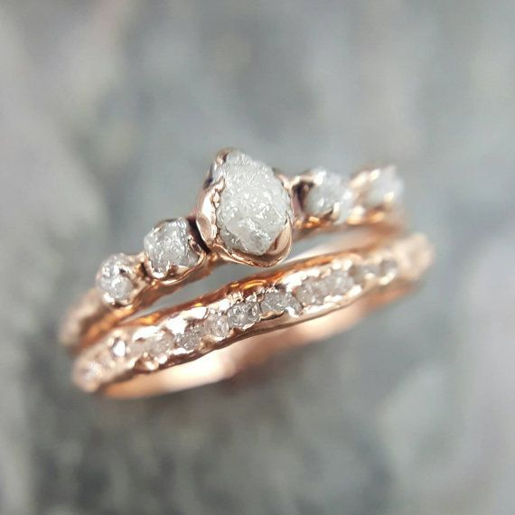 rough raw on rings pinterest best of diamond ideas engagement cut unique