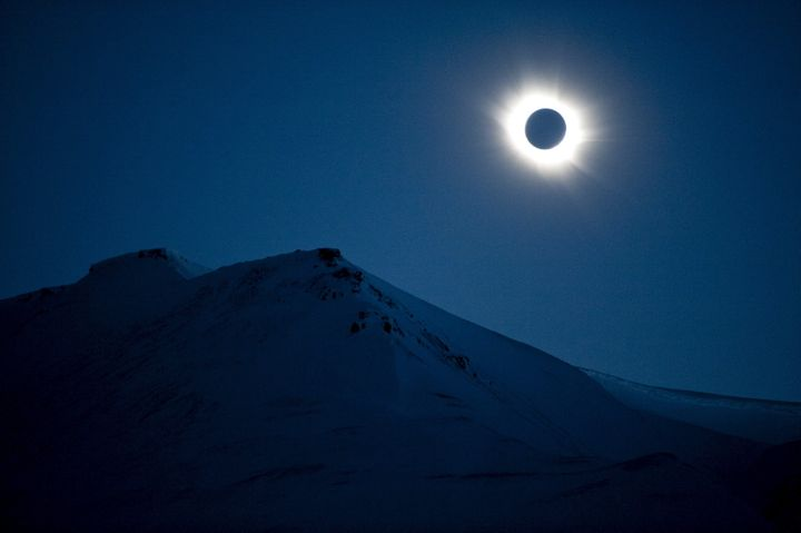 A total solar eclipse is seen in Longyearbyen on Svalbard, Norway, on March 20, 2015.