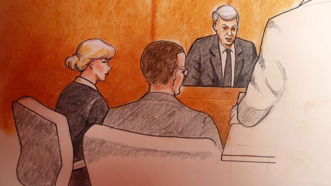 A courtroom drawing of Taylor Swift, defendant in Mueller v. Swift, in a Denver courtroom earlier today.