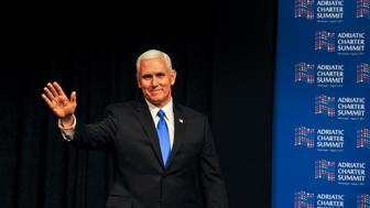 US Vice President Mike Pence waves at the Adriatic Charter Summit in Podgorica on August 2, 2017. US Vice President Mike Pence said that the future of the Western Balkans lay 'in the West', on the last leg of a tour aimed at reassuring Eastern European allies worried by Russia. / AFP PHOTO / Savo PRELEVIC        (Photo credit should read SAVO PRELEVIC/AFP/Getty Images)