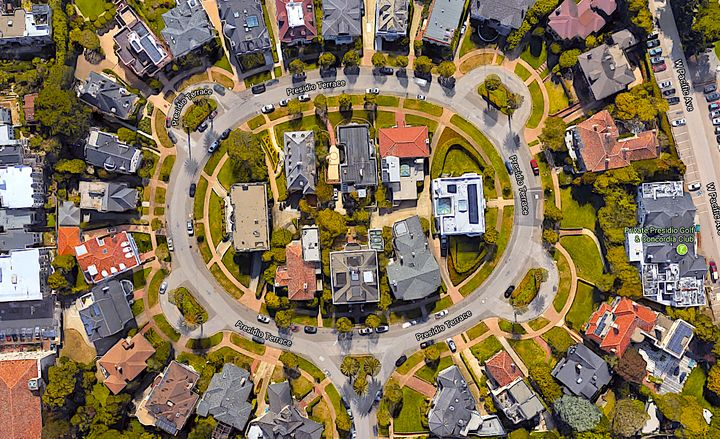 Presidio Terrace, an affluent gated community in San Francisco, as seen from above.