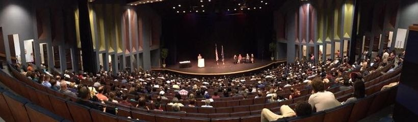 E.J.R. David speaking to the families and friends of 136 new U.S. Citizens who gathered to witness the naturalization ceremon