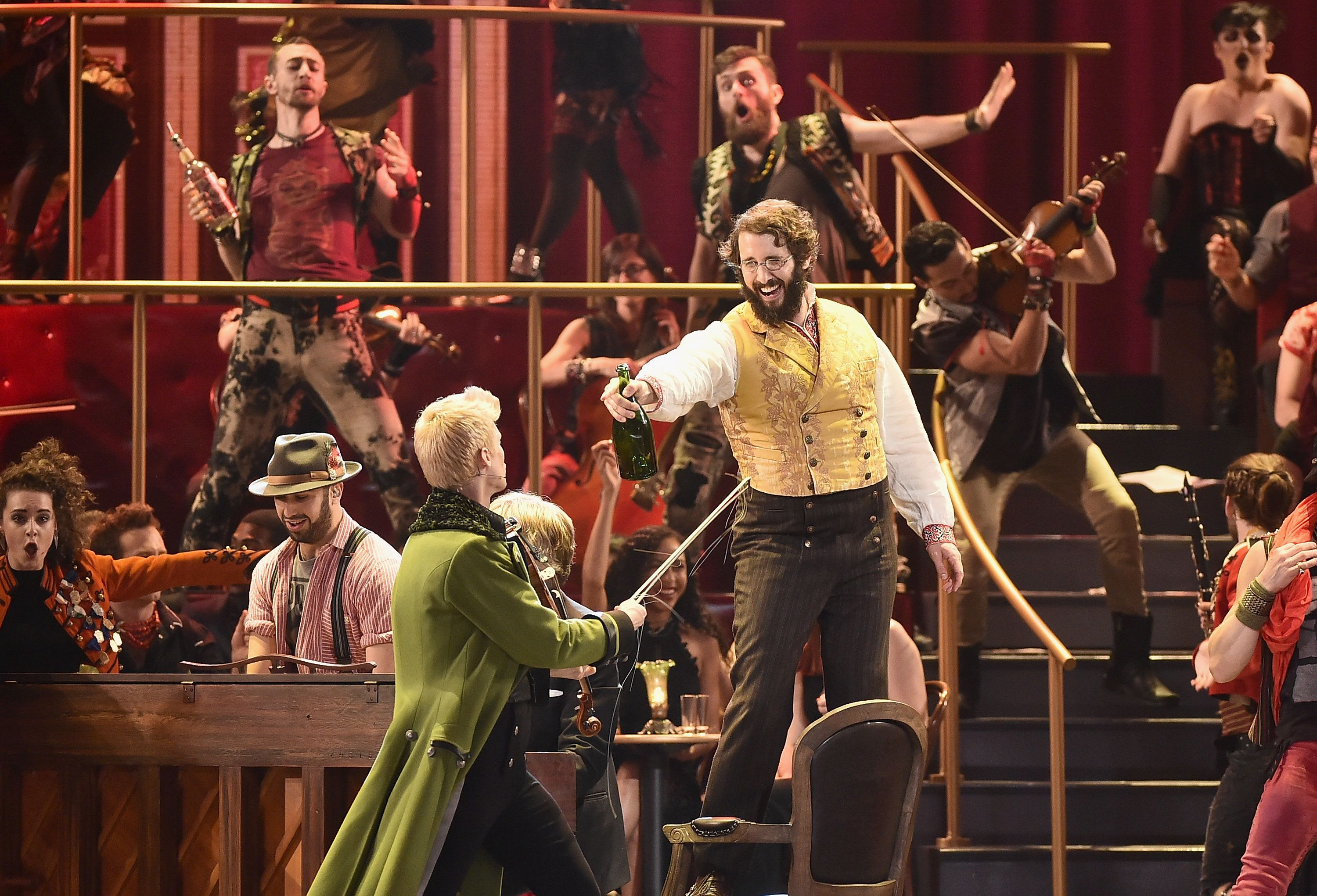 NEW YORK, NY - JUNE 11:  Lucas Steele and Josh Groban perform onstage with the cast of 'Natasha, Pierre and The Great Comet of 1812' onstage during the 2017 Tony Awards at Radio City Music Hall on June 11, 2017 in New York City.  (Photo by Theo Wargo/Getty Images for Tony Awards Productions)
