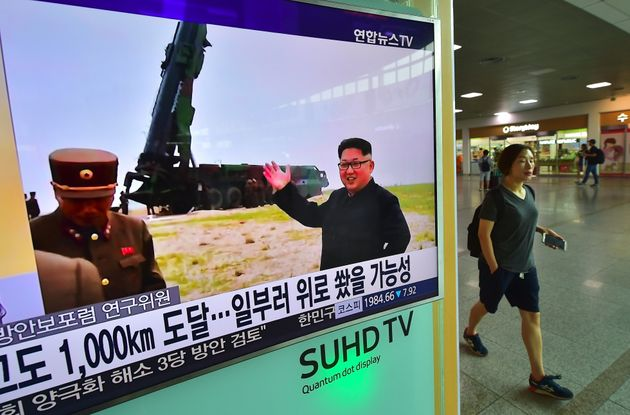 Atelevision screen in South Korea reporting news of North Korea's Musudan missile test on June...