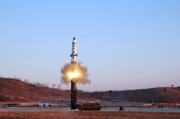 This photo taken on February 12, 2017 shows the launch of a surface-to-surface medium long-range ballistic...