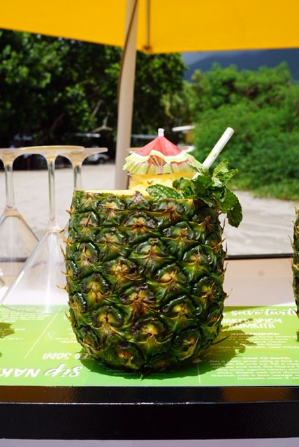 Naked Colada inside a hollowed pineapple made by Stacy Moya